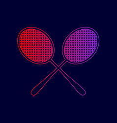 Tennis racquets sign line icon with vector