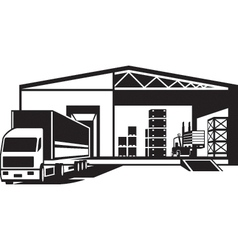 Truck loaded goods in warehouse vector image vector image