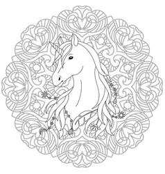 Unicorn tattoo coloring page vector