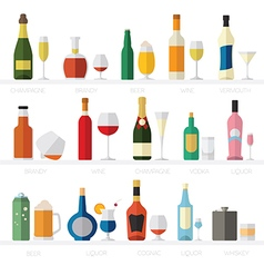 Alcohol glasses and bottles flat icon set vector
