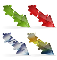 3D Puzzle Jigsaw Arrow vector image