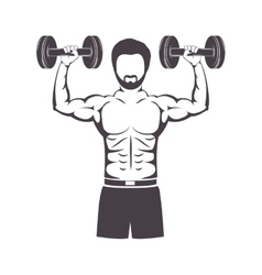 Muscle man lifting a disc weights vector