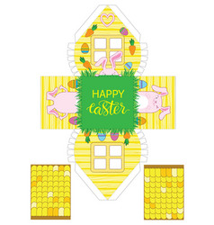 Printable gift easter house with banny eggs and vector