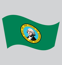flag of washington state waving on gray background vector image