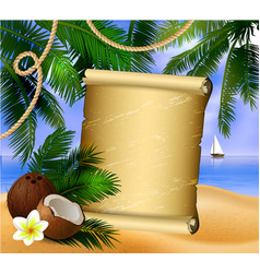 Old paper on tropical background vector