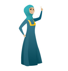 Business woman pointing with her forefinger vector