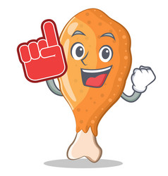 Foam finger fried chicken character cartoon vector