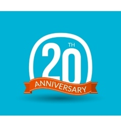 20 anniversary numbers with ribbon flat origami vector