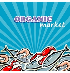 Seafood organic food concept vector