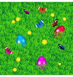 Background with grass easter eggs and flowers vector