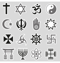 World religions symbols set of stickers eps10 vector