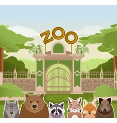 Zoo gate with forest animals vector