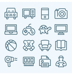 Mall lines icons vector