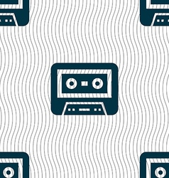 Audiocassette icon sign seamless pattern with vector