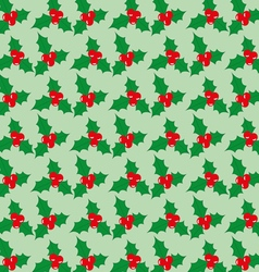 Christmas seamless pattern with berries on a green vector