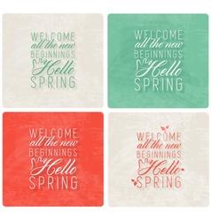 Spring typography background set in vintage style vector