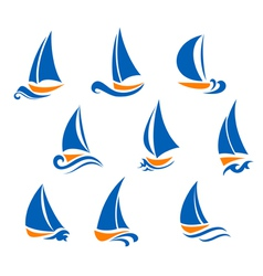 Yachting and regatta symbols vector