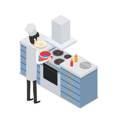 at restaurant male chef taking pot on cooker vector image vector image