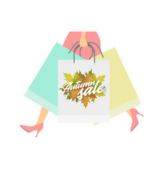 Autumn sale design concept woman with paper vector