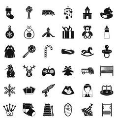 Baby thing icons set simple style vector