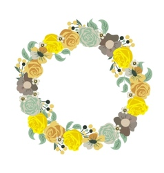 Beautiful greeting card with floral wreath holiday vector