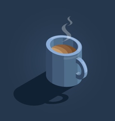 Blue cup of coffee on navy background isometric vector