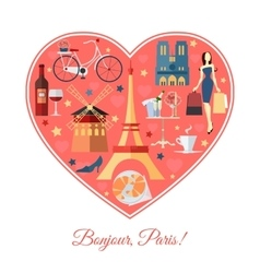 Bonjour Paris France travel background with vector image vector image