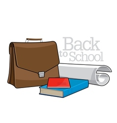 Brown Brief case and books vector image