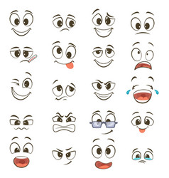 cartoon happy faces with different expressions vector image vector image