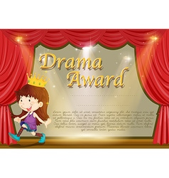 Certificate template with girl on stage vector image