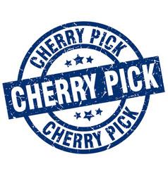 Cherry pick blue round grunge stamp vector