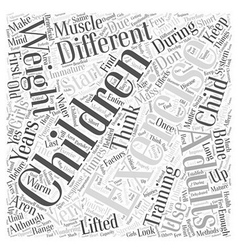 Children and exercise word cloud concept vector