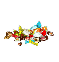 composition of sweets in wraps vector image