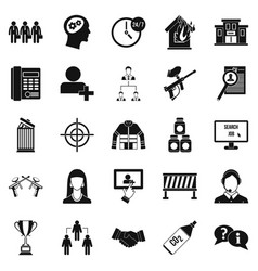 Crew icons set simple style vector