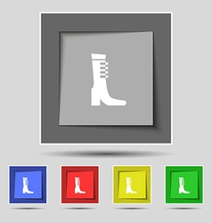 Female fall and winter shoe boot icon sign on vector