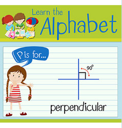 Flashcard letter p is for perpendicular vector