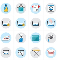 Flat icons for laundry and washing icons vector