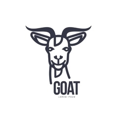 Front view goat head logo for meat and dairy vector image vector image