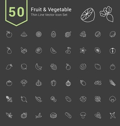 Fruit and Vegetable Thin Icon Set vector image