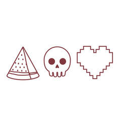 Heart skull and watermelon icon vector
