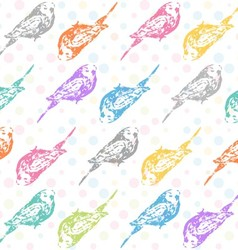 Ink hand drawn parrots seamless pattern vector