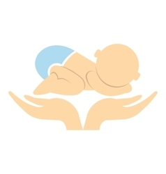 Little baby in mother hands icon vector image