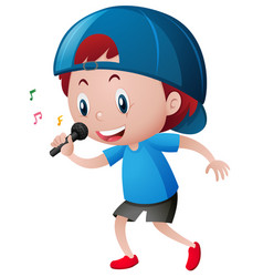 little boy singing on microphone vector image