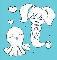 Lovely mermaid and octopus coloring book vector
