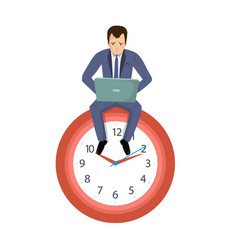 Office worker businessman sitting on a clock vector