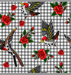 pattern of flying bird and red roses stickers vector image
