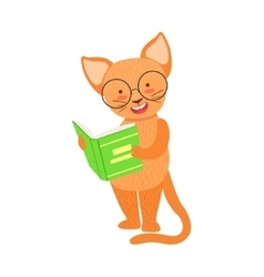 Red cat smiling bookworm zoo character wearing vector