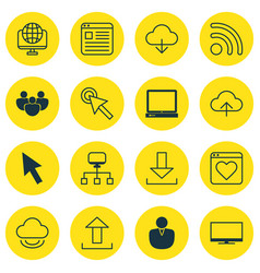 Set of 16 online connection icons includes vector