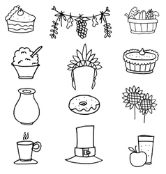 Set of hand draw thanksgiving vector image