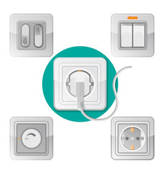 set of light on off switches power socket with vector image